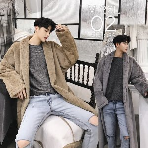 大人の ガウンコート ロング丈 ボア コート モコモコガウン メンズ メンズファッション  韓流 韓国ファッション  カジュアル 冬 秋 個性 衣装 モード|bigbangfellas
