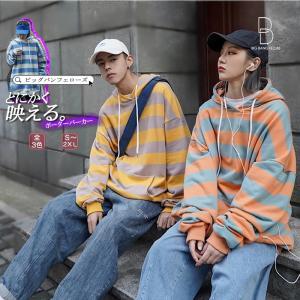 ボーダー柄 パーカー メンズ レディース ユニセックス ペア リンクコーデ 原宿系 病みかわいい 服 韓国 ファッション ストリート系 ダンス 衣装|bigbangfellas