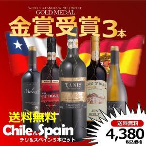 送料無料 金賞受賞3本入り スペイン&チリ5本ワインセット 赤4本/白1本