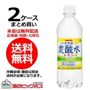 送料無料 サンガリア 伊賀の天然水炭酸水レモン 500ml×2ケース/48本(048)|bigbossshibazaki