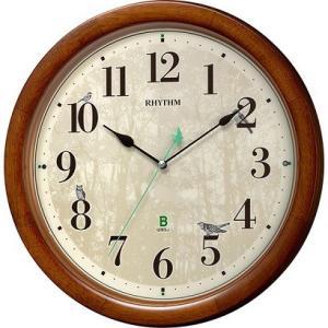 RHYTHM リズム時計 クロック 日本野鳥の会 四季の野鳥 報時掛時計408 木枠 8MN408S...