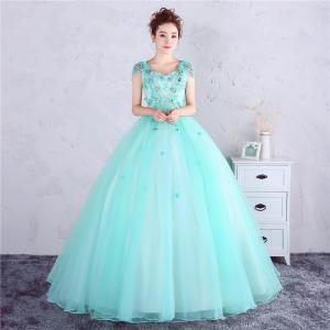 カラードレス 安い イブニングドレス 花嫁 ロング パーティ...