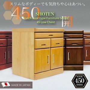仏壇チェスト モダン 完成品 日本製 幅45cm スライドカウンター付き 開き扉 ロータイプ
