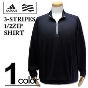 大きいサイズ メンズ adidas golf (アディダスゴルフ) ハーフジップ 長袖シャツ ブラック XL XXL|biglibero