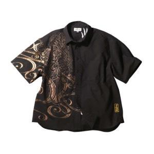 大きいサイズ メンズ 絡繰魂 鳳凰に菊刺繍半袖シャツ 3L 4L 5L 6L|bigsize-upstart