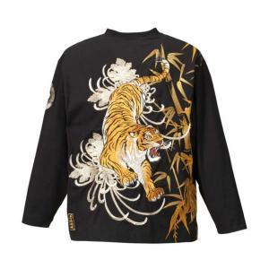 大きいサイズ Tシャツ メンズ 絡繰魂 竹林に虎刺繍長袖Tシャツ 3L 4L 5L 6L 8L|bigsize-upstart