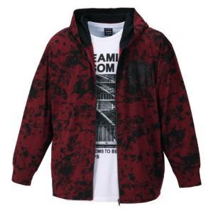 大きいサイズメンズパーカー BEAUMERE 総柄フルジップパーカー+半袖Tシャツ 3L 4L 5L 6L bigsize-upstart