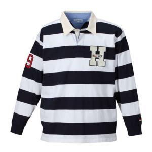 H by FIGER 長袖ボーダーラガーシャツ メンズ ゴルフウェア 大きいサイズ 3L 4L 5L 6L 8L|bigsize-upstart