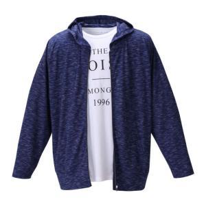 杢テレコフルジップパーカー+半袖Tシャツ 大きいサイズ メンズ launching pad  ネイビー杢×ホワイト|bigsize
