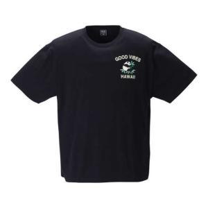 【新作・新着商品!】リゾート柄スーベニア刺繍半袖Tシャツ 大きいサイズ メンズ SHELTY  ブラック|bigsize