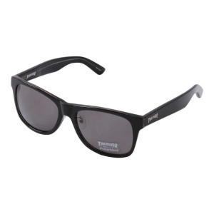偏光レンズサングラス 大きいサイズ メンズ THRASHER  ブラック×スモーク bigsize