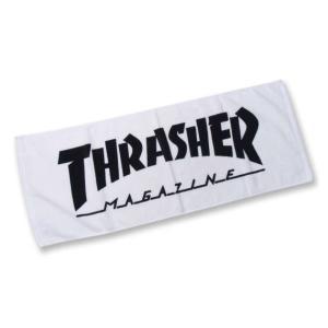 MAG LOGOフェイスタオル 大きいサイズ メンズ THRASHER  ホワイト×ブラック|bigsize
