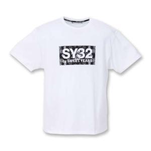 【新作・新着商品!】ペイズリーボックスロゴ半袖Tシャツ 大きいサイズ メンズ SY32 by SWEET YEARS  ホワイト|bigsize