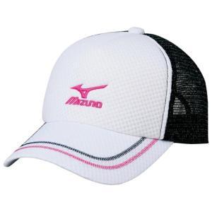 ミズノ ソフトテニス キャップ(ホワイト×ピンク)※ラメ メッシュ 帽子|bigsports