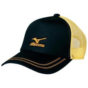 ミズノ ソフトテニス キャップ(ブラック×ゴールド)※ラメ メッシュ 帽子|bigsports