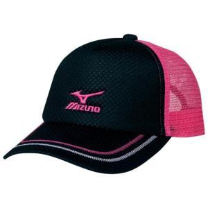 ミズノ ソフトテニス キャップ(ブラック×ピンク)※ラメ メッシュ 帽子|bigsports