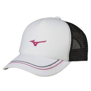 ソフトテニス キャップ ミズノ(ホワイト×ピンク) ※ラメ メッシュ 帽子|bigsports