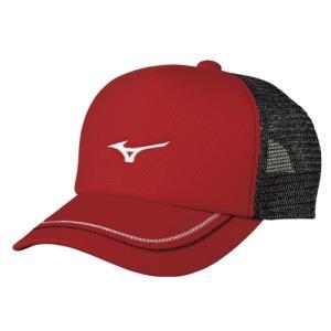 ソフトテニス キャップ ミズノ(レッド) ※ラメ メッシュ 帽子|bigsports