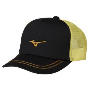 ソフトテニス キャップ ミズノ(ブラック×ゴールド) ※ラメ メッシュ 帽子|bigsports