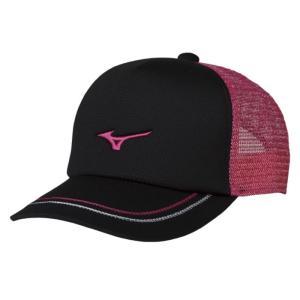 ソフトテニス キャップ ミズノ(ブラック×ピンク) ※ラメ メッシュ 帽子|bigsports