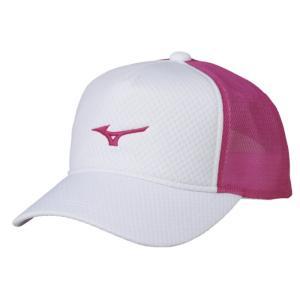 ソフトテニス キャップ ミズノ(ホワイト×ピンク) 帽子|bigsports