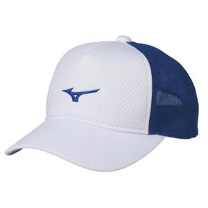 ソフトテニス キャップ ミズノ(ホワイト×シアン) 帽子|bigsports