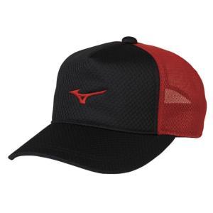 ソフトテニス キャップ ミズノ(ブラック×レッド) 帽子|bigsports