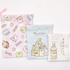 すみっコぐらし 3P巾着 水玉ピンク MSG-181 bigstar