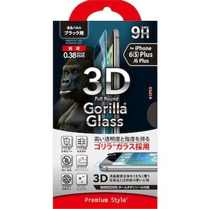 (送料無料)☆ iPhone6s Plus iPhone6 Plus (5.5インチ) 専用 3Dフルラウンド ゴリラガラス ブラック PG-I6PGL01BK(メール便送料無料)|bigstar