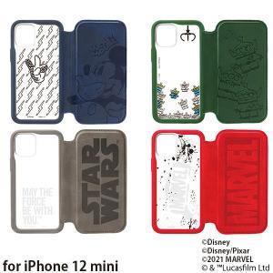 ディズニー iPhone 12 mini用 ガラスフリップケース PG-DGF20F|bigstar