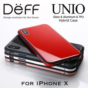(4月中旬発売)☆ Deff iPhoneX 専用 ケース Glass&Aluminum&TPU Case UNIO for iPhone X DCS-IPXUNC|bigstar