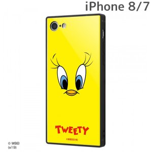 ☆ ルーニー・テューンズ iPhone8 iPhone7 専用 耐衝撃ガラスケース KAKU/トゥイーティーフェイス IQ-WP7K1B/TW001 (メール便送料無料)|bigstar