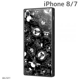 ☆ ワンピース iPhone8 iPhone7 専用 耐衝撃ガラスケース KAKU 海賊旗マーク IQ-OP7K1B/OP002 (メール便送料無料)|bigstar
