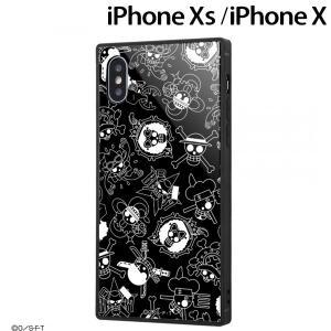 ☆ ワンピース iPhoneXS iPhoneX 専用 耐衝撃ガラスケース KAKU 海賊旗マーク IQ-OP20K1B/OP002 (メール便送料無料)|bigstar