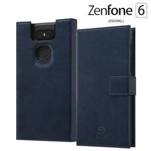 ☆ ASUS ZenFone 6 ZS630KL (6.4インチ) 専用 手帳型 耐衝撃レザーケース KAKU ダークネイビー IS-RAZ6KBC3/DN|bigstar