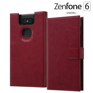 ☆ ASUS ZenFone 6 ZS630KL (6.4インチ) 専用 手帳型 耐衝撃レザーケース KAKU レッド IS-RAZ6KBC3/R|bigstar