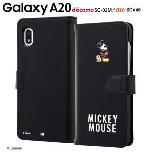 ☆ ディズニー Galaxy A20(docomo SC-02M/au SCV46)専用 手帳型アートケース マグネット/ミッキーマウス_025 IN-DGA20MLC2/MK025|bigstar