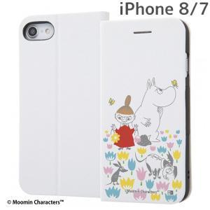 ☆ ムーミン iPhone8 iPhone7(4.7インチ)専用 手帳型ケース マグネットタイプ お花畑_2 IJ-AP7SLC3W/MT013|bigstar