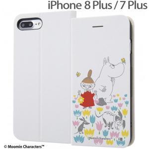 ☆ ムーミン iPhone8 Plus iPhone7 Plus (5.5インチ)専用 手帳型ケース マグネットタイプ お花畑_2 IJ-AP7PSLC3W/MT013|bigstar