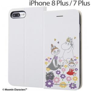 ☆ ムーミン iPhone8 Plus iPhone7 Plus (5.5インチ)専用 手帳型ケース マグネットタイプ お花畑_3 IJ-AP7PSLC3W/MT014|bigstar