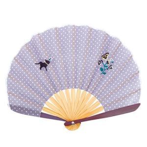 ☆ ドット刺繍シェル扇子セット 猫パンジー 3018-1002-01|bigstar