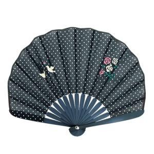 ☆ ドット刺繍シェル扇子セット 鳥ローズ 3018-1002-02|bigstar