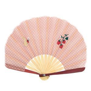 ☆ ドット刺繍シェル扇子セット うさぎベリー 3018-1002-03|bigstar