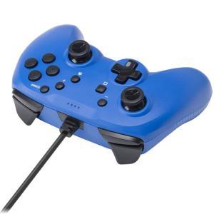 CYBER Nintendo Switch専用 ジャイロコントローラー ライト 有線タイプ ブルー ...