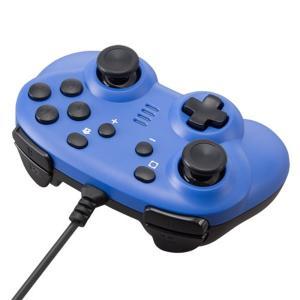 CYBER Nintendo Switch専用 ジャイロコントローラー ミニ 有線タイプ ブルー C...