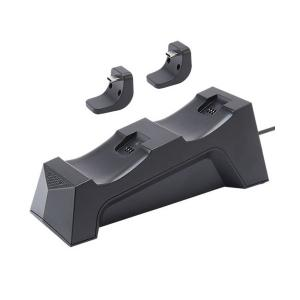 CYBER PS5用 置くだけで充電できるコントローラースタンド ダブル ブラック CY-P5OCCSW-BK|bigstar