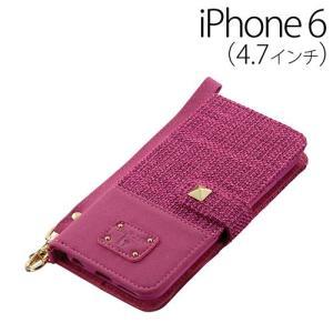 ▲ iDress iPhone6 (4.7インチ) 専用 ツイード ダイアリーカバー ピンク iDP6-BC03 bigstar