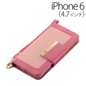 ▲ iDress iPhone6 (4.7インチ) 専用 バイカラー ダイアリーカバー ライトピンク×ピンク iDP6-BC05 bigstar