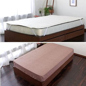 SD ベーシック仕様寝具3点セット セミダブルサイズ ベッドパット シーツ×2 丸洗い 洗濯可 吸湿 吸水 オールシーズン bigwood 08