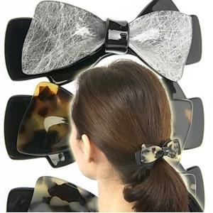 ヘアアクセサリー バレッタ レディなアセチ(アセテート樹脂) リボン まとめ髪に最適|bijinkoeido